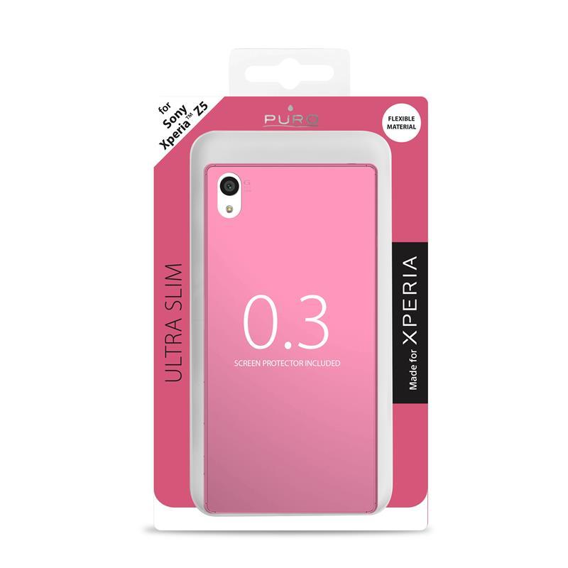 """PURO Ultra Slim """"0.3"""" Cover MFX - Zestaw etui + folia na ekran Sony Xperia Z5 (różowy)"""
