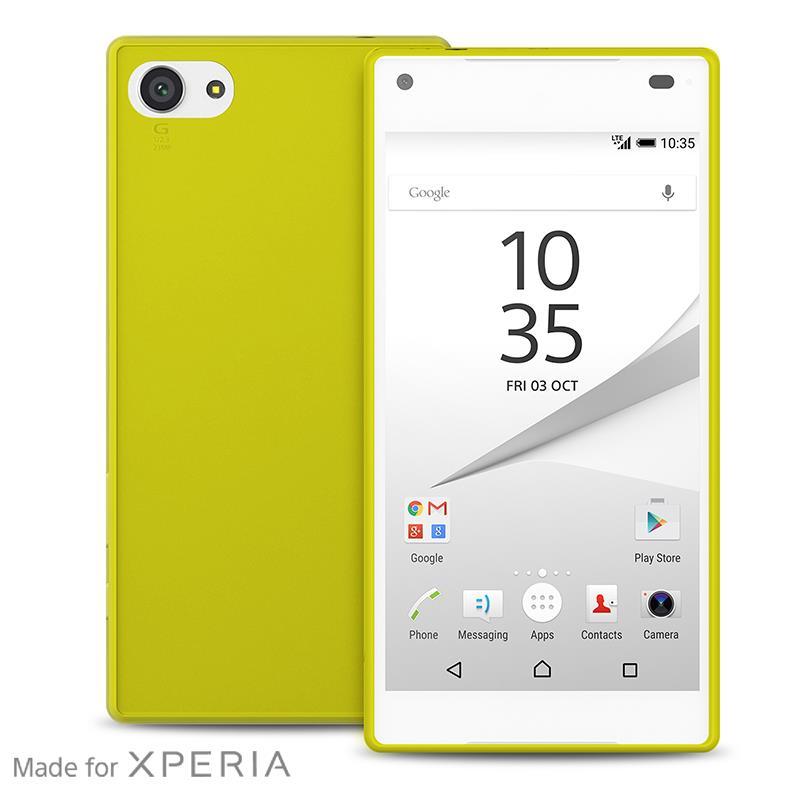 """PURO Ultra Slim """"0.3"""" Cover MFX - Zestaw etui + folia na ekran Sony Xperia Z5 Compact (limonkowy)"""