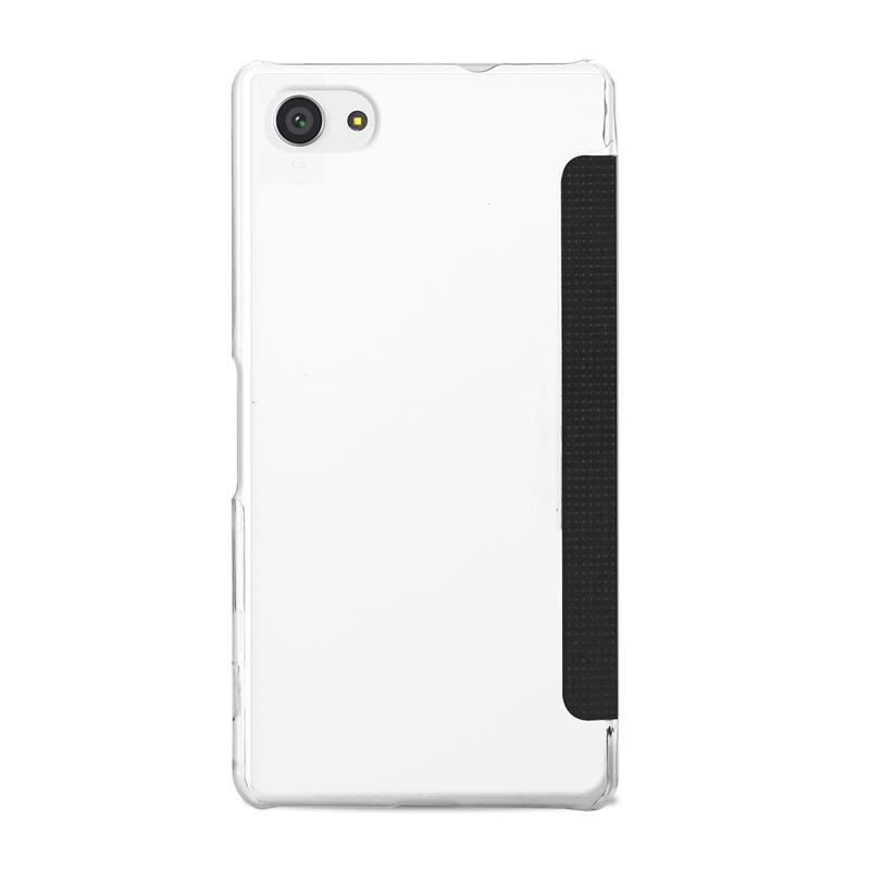 PURO Booklet Wallet Case - Etui Sony Xperia Z5 Compact z kieszenią na kartę (czarny/przezroczysty tył)