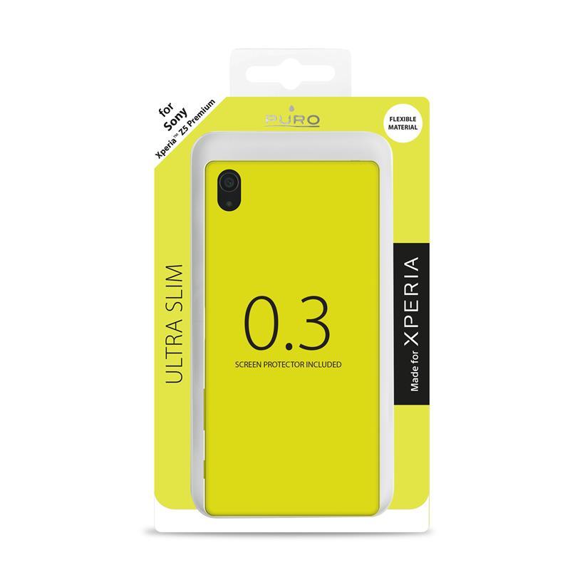 """PURO Ultra Slim """"0.3"""" Cover MFX - Zestaw etui + folia na ekran Sony Xperia Z5 Premium (limonkowy)"""