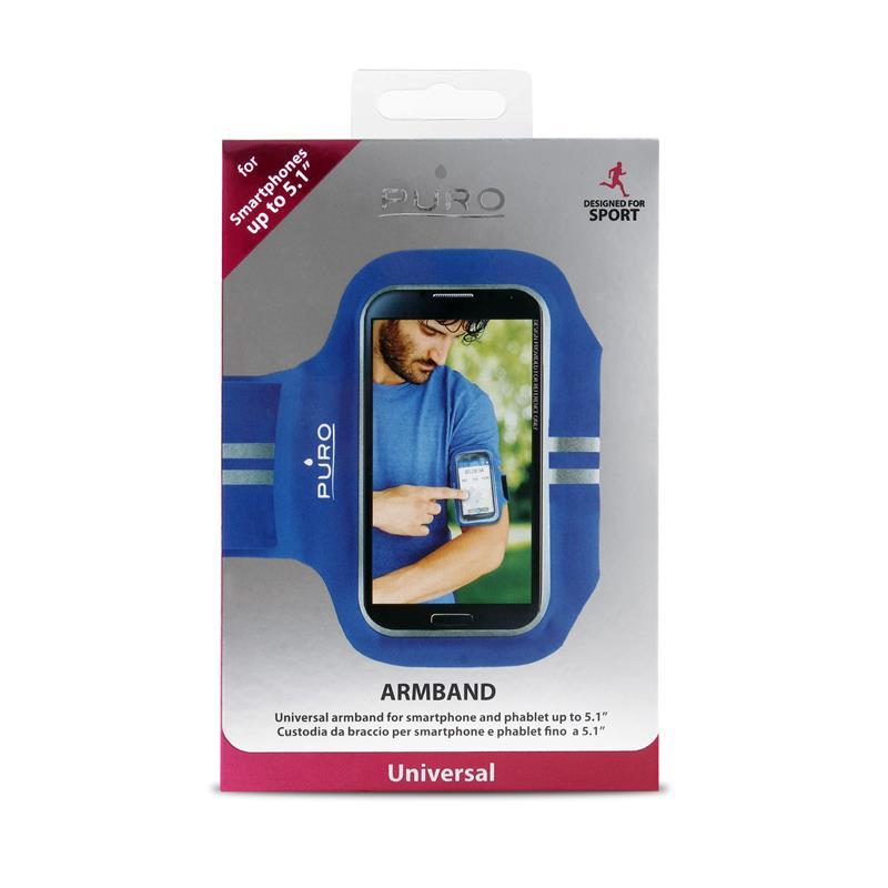 """PURO Armband - Uniwersalna sportowa opaska na ramię do smartfonów max 5.1"""" (niebieski)"""