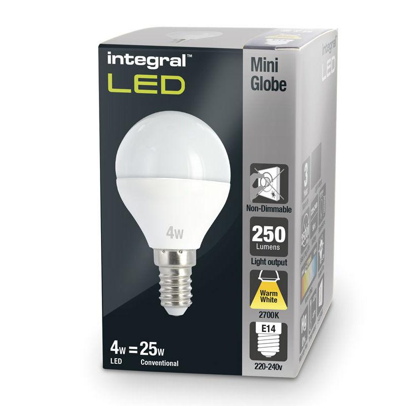 Integral żarówka LED E14 Mini Globe 4W (25W) 2700K 250lm barwa biała ciepła
