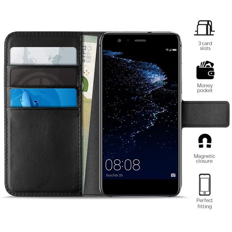 PURO Booklet Wallet Case - Etui Huawei P10 Lite z kieszeniami na karty + stand up (czarny)