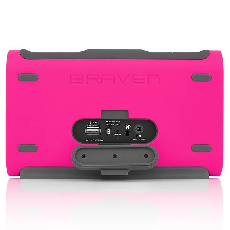 Braven Balance - Wodoszczelny głośnik Bluetooth + Power Bank 4400 mAh (Raspberry)