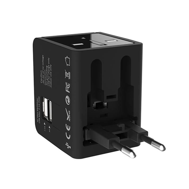 Kanex International Power Adapter - Podróżny adapter zasilania US / AU / EU / UK + 2 x USB, 2.1 A (Black)