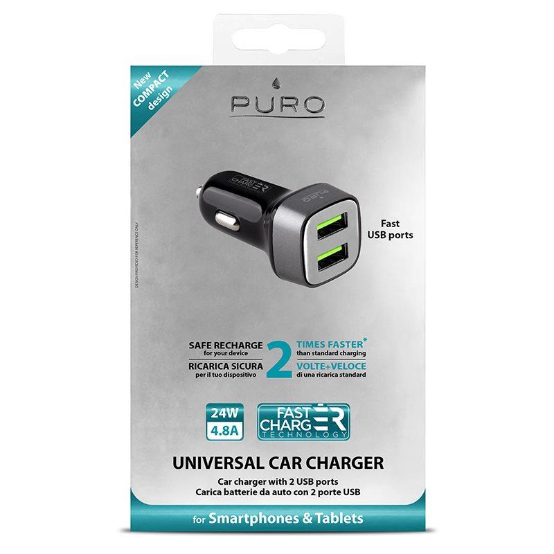 PURO Mini Car Fast Charger - Uniwersalna ładowarka samochodowa 2 x USB, 4.8 A square (czarny)