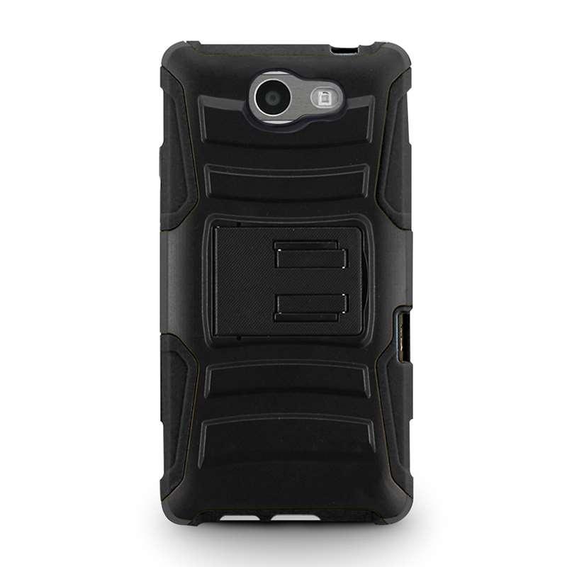Zizo Armor Hybrid Cover - Pancerne etui Samsung Galaxy J3 (2017) z podstawką + uchwyt do paska (Black)