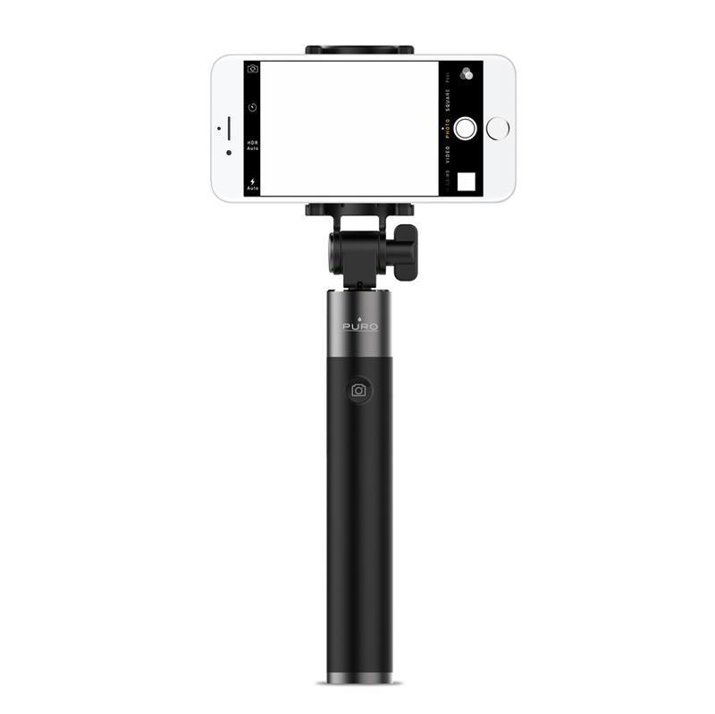 PURO Smartline Selfie Stick - Uniwersalny kij do selfie, Bluetooth 3.0 (czarny)