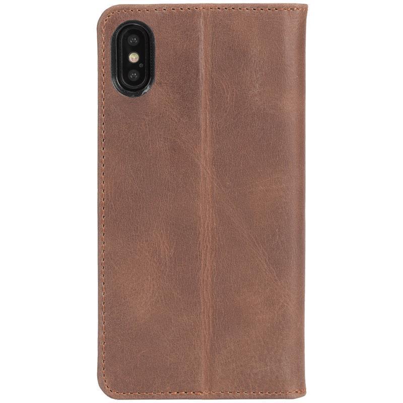 Krusell Sunne 4 Card FolioWallet - Skórzane etui iPhone X z kieszeniami na karty + stand up (Cognac)