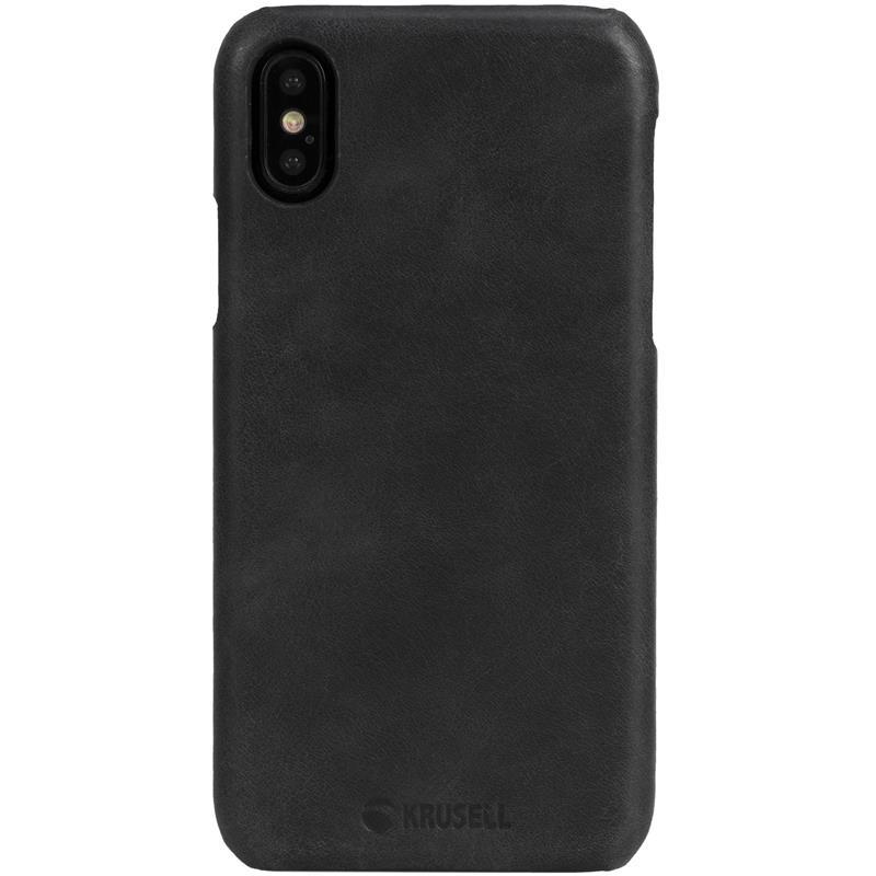 Krusell Sunne Cover - Skórzane etui iPhone X (Black)