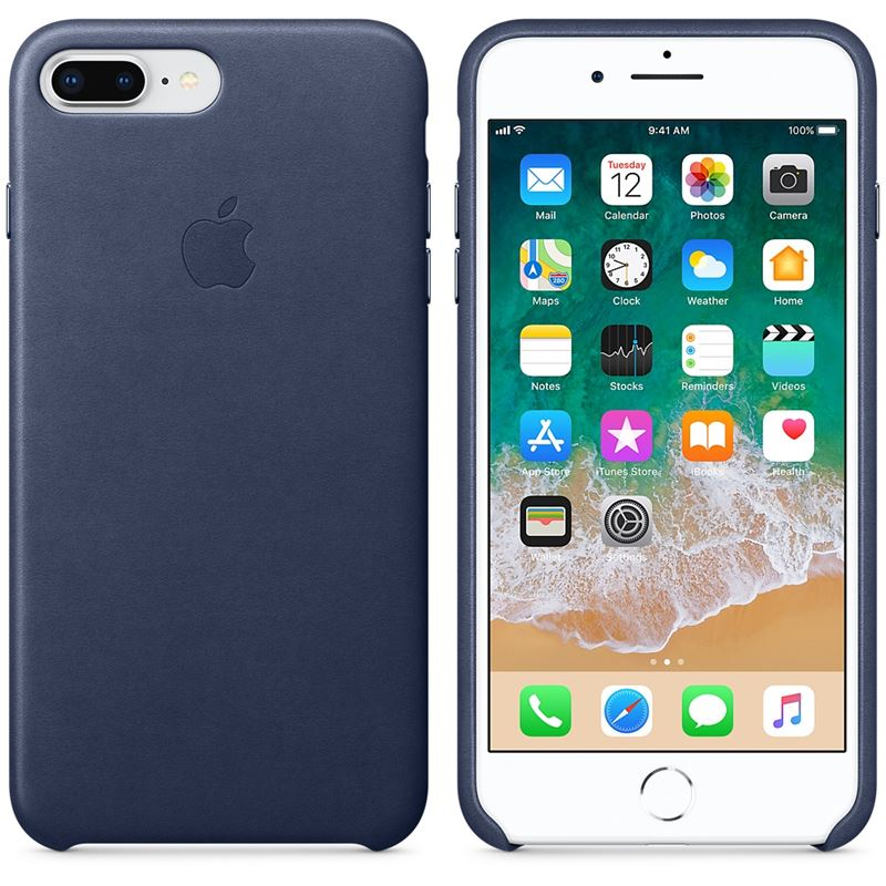 Apple Leather Case - Skórzane etui iPhone 8 Plus / 7 Plus (nocny błękit)