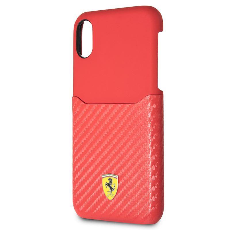 Ferrari Carbon Hard Case - Etui iPhone X z kieszenią na kartę (czerwony)