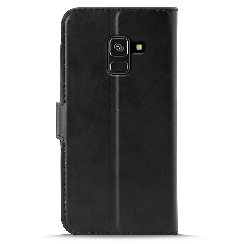 PURO Booklet Wallet Case - Etui Samsung Galaxy A8 (2018) z kieszeniami na karty + stand up (czarny)