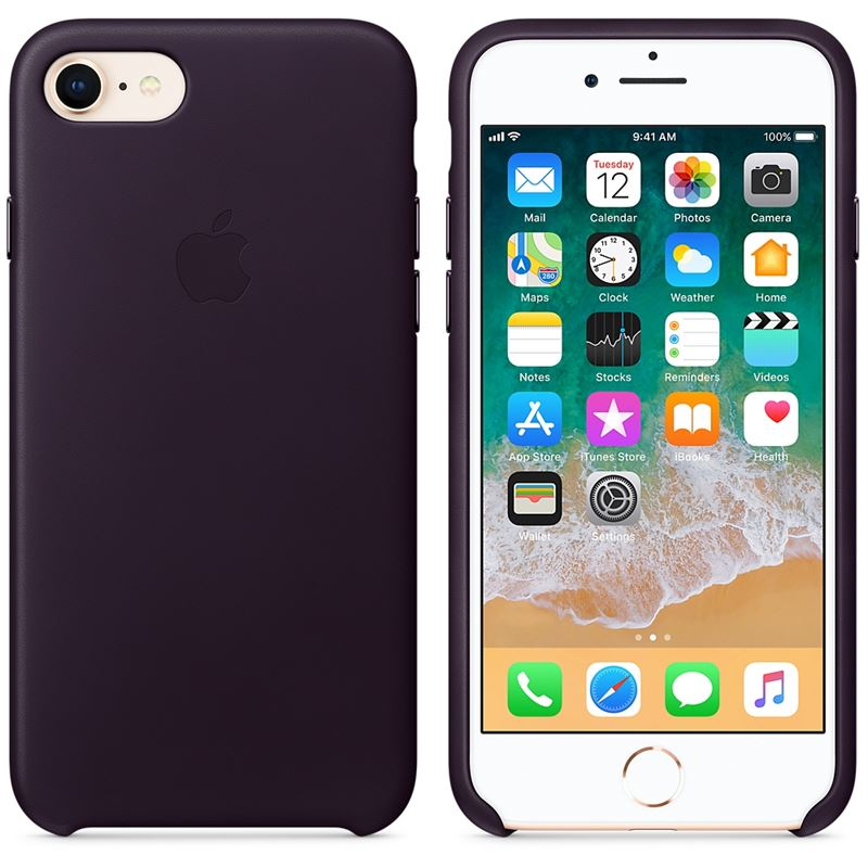 Apple Leather Case - Skórzane etui iPhone 8 / 7 (oberżyna)