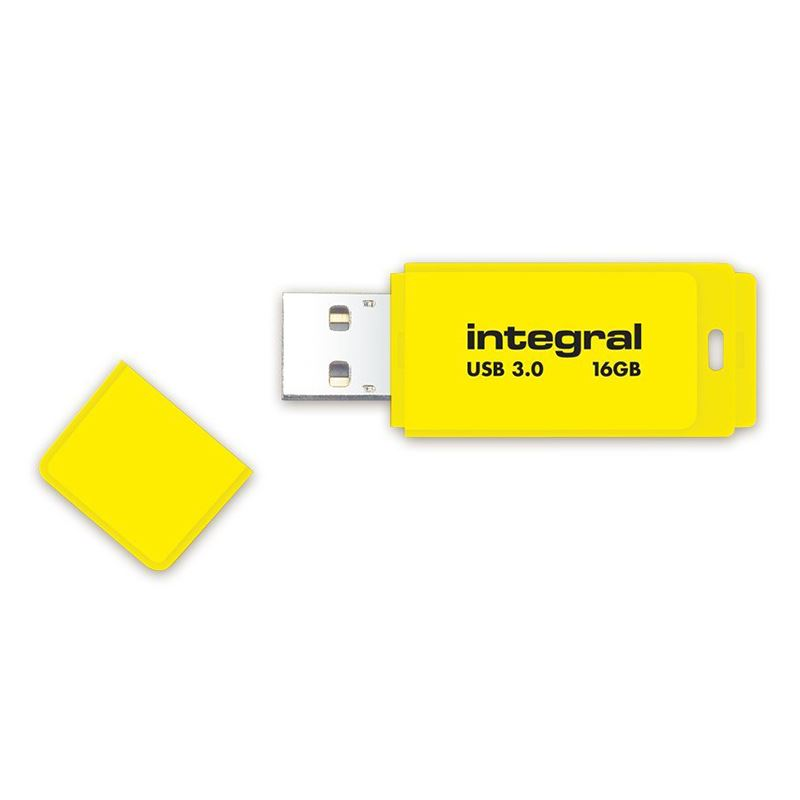 Integral Neon USB 3.0 Flash Drive - Pendrive USB 3.0 16GB 110/10 MB/s (Yellow)