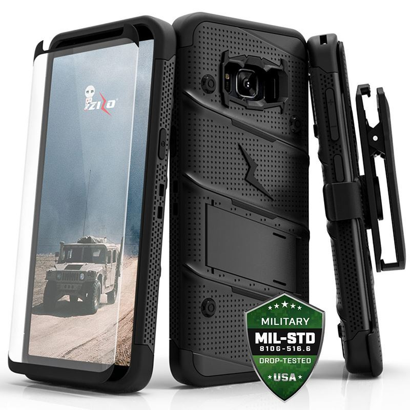 Zizo Bolt Cover - Pancerne etui Samsung Galaxy S8 Active ze szkłem 9H na ekran + podstawka & uchwyt do paska (Black)