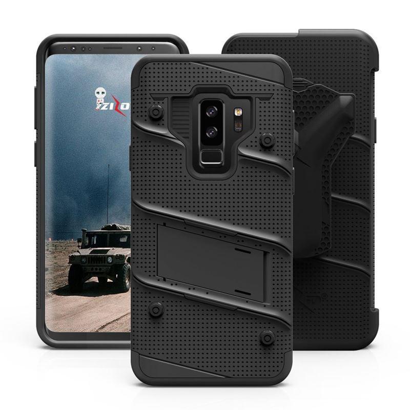 Zizo Bolt Cover - Pancerne etui Samsung Galaxy S9+ ze szkłem 9H na ekran + podstawka & uchwyt do paska (Black/Black)