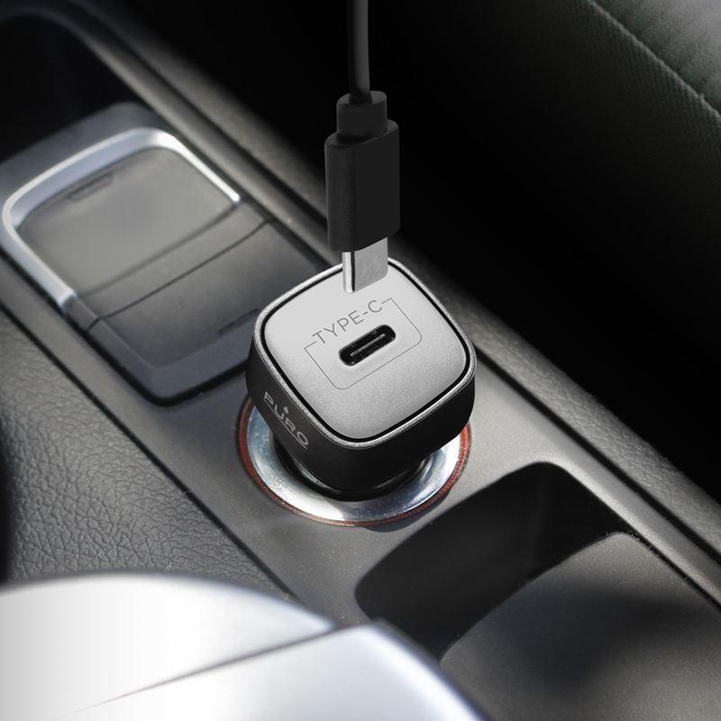 PURO Ultra Car Charger Power Delivery - Ładowarka samochodowa USB-C Power Delivery, 30 W (czarny)