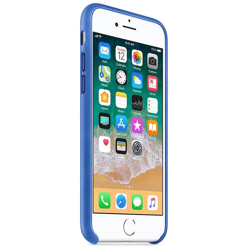 Apple Leather Case - Skórzane etui iPhone 8 / 7 (ostry błękit)