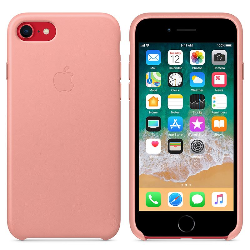 Apple Leather Case - Skórzane etui iPhone 8 / 7 (delikatny róż)