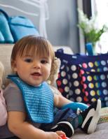 BUILT Mess Mate - 2 śliniaki dla dzieci (Dribble Dots Blue)