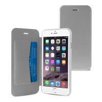 PURO Booklet Wallet Case - Etui iPhone 6s Plus / iPhone 6 Plus z kieszenią na kartę (srebrny/przezroczysty tył)