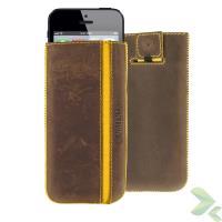Valenta Pocket Stripe Vintage - Skórzane etui wsuwka iPhone SE / iPhone 5s / iPhone 5c / iPhone 5 (brązowy)