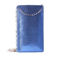 PURO GLAM Chain - Etui uniwersalne do smartfonów z 2 kieszeniami na karty w/gold chain XXL (niebieski)