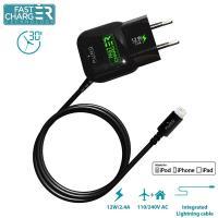 PURO Mini Travel Fast Charger - Ładowarka Apple 2.4 A złącze Lightning MFi (czarny)
