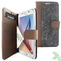 Valenta Booklet Raw Vintage - Skórzane etui z kieszeniami na karty i pieniądze Samsung Galaxy S6 (brązowy)