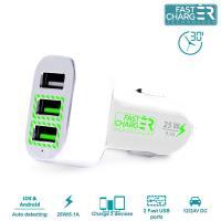 PURO Mini Car Fast Charger - Ładowarka samochodowa 3 x USB, 5.1 A (biały)
