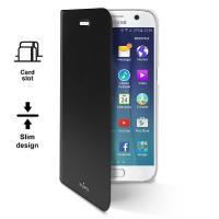 PURO Booklet Wallet Case - Etui Samsung Galaxy S7 z kieszenią na kartę (czarny/przezroczysty tył)