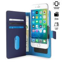 PURO Smart Wallet - Uniwersalne etui z uchwytem do robienia zdjęć z kieszonkami na karty i pieniądze, rozmiar L (niebieski)