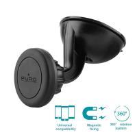 PURO Uniwersalny magnetyczny uchwyt samochodowy do smartfonów + przyssawka (czarny)