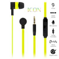 PURO ICON Stereo Earphone - Słuchawki z płaskim kablem W/answer (Fluo Yellow)