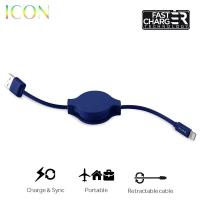 PURO ICON Retractable Cable - Zwijany kabel ligtning MFi (Dark Blue)