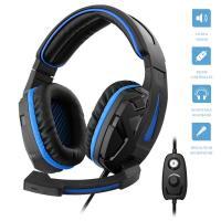 1Life Cyber - Słuchawki stereofoniczne dla graczy z mikrofonem (czarny/niebieski)