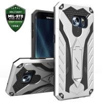 Zizo Static Cover - Pancerne etui Samsung Galaxy S7 edge z podstawką (srebrny/czarny)