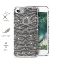 JUST CAVALLI Leo Zebra Glitter Cover - Etui iPhone 7 (Silver)