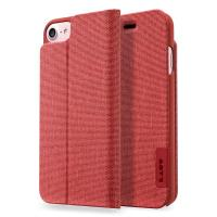 Laut APEX KNIT - Etui iPhone 8 / 7 / 6s / 6 z kieszenią na kartę + stand up + 2 x folia na ekran w zestawie (Crimson)