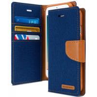 Mercury Canvas Diary - Etui iPhone 6s / iPhone 6 z kieszeniami na karty + stand up (granatowy/camel)
