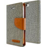 Mercury Canvas Diary - Etui iPhone SE / iPhone 5s / iPhone 5 z kieszeniami na karty + stand up (szary/camel)