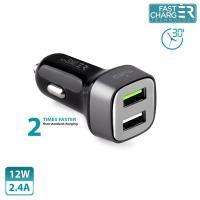 PURO Mini Car Fast Charger - Uniwersalna ładowarka samochodowa 2 x USB, 2.4 A square (czarny)