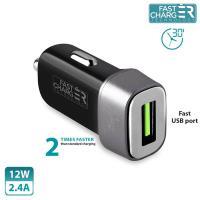 PURO Mini Car Fast Charger - Uniwersalna ładowarka samochodowa USB 2.4 A square (czarny)