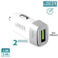 PURO Mini Car Fast Charger - Uniwersalna ładowarka samochodowa USB 2.4 A square (biały)