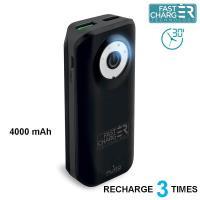 PURO Universal External Fast Charger Battery - Uniwersalny Power Bank 4000 mAh, 2 x USB, 2.4 A (czarny)