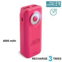 PURO Universal External Fast Charger Battery - Uniwersalny Power Bank 4000 mAh, 2 x USB, 2.4 A (różowy)