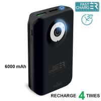 PURO Universal External Fast Charger Battery - Uniwersalny Power Bank z latarką 6000 mAh, 2 x USB, 2.4 A (czarny)