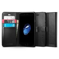 Spigen Wallet S - Etui iPhone 7 / iPhone 6s / iPhone 6 z kieszeniami na karty + stand up (czarny)