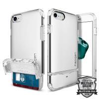 Spigen Flip Armor - Etui iPhone 7 z kieszenią na karty (Satin Silver)